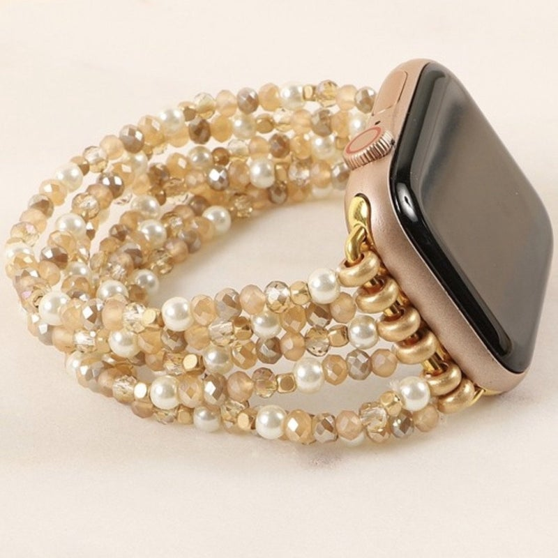Pearl & Gold Beaded Apple Watch Band (Fits 42/44)