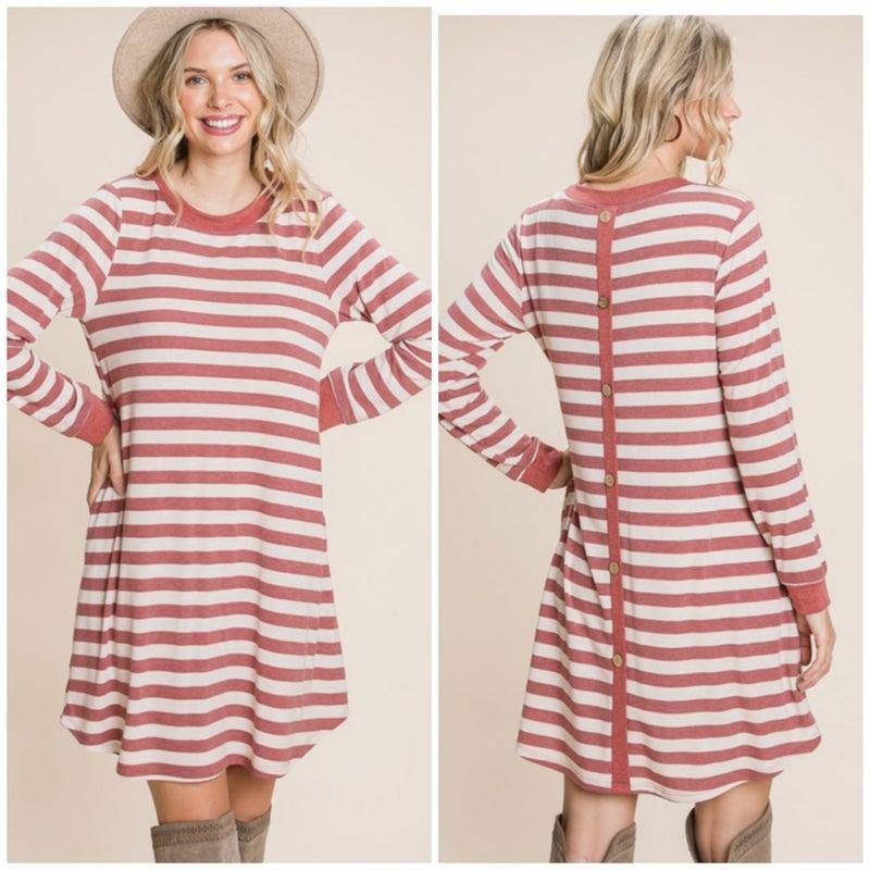 Rust Striped Button Back Pocket Dress
