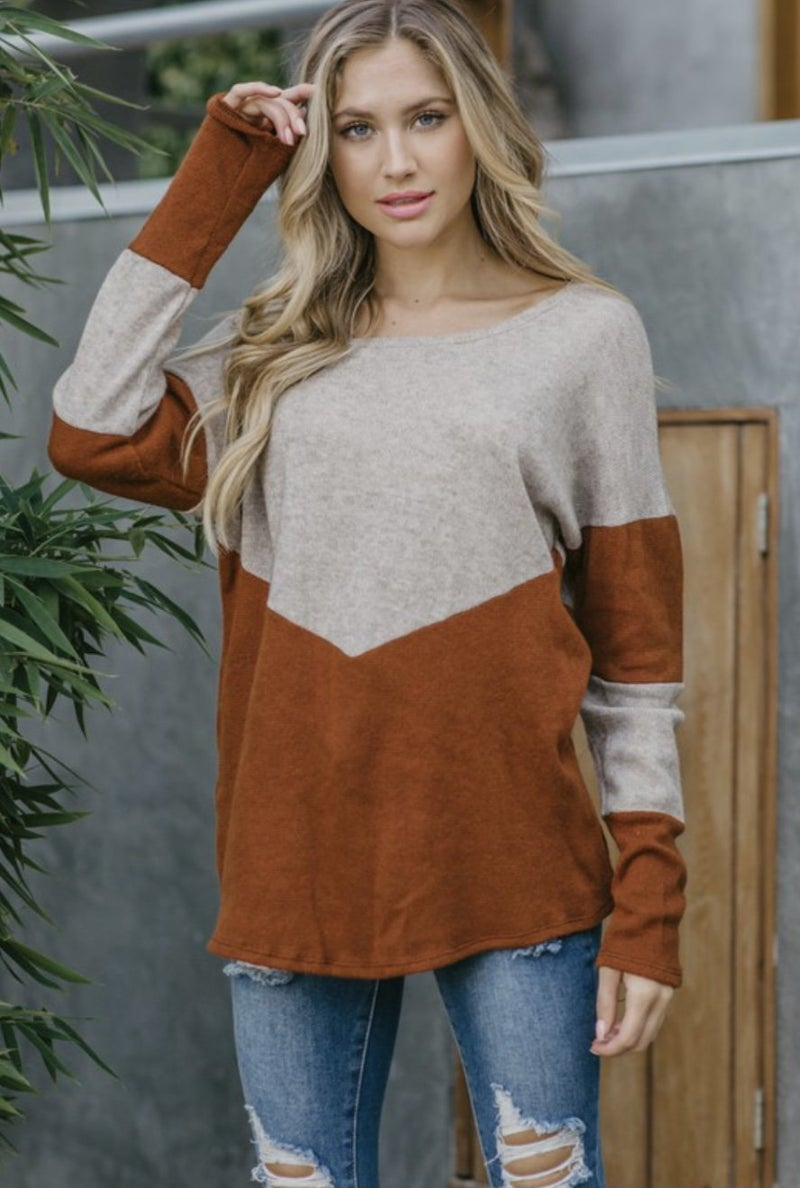 Rust Two Tone Top