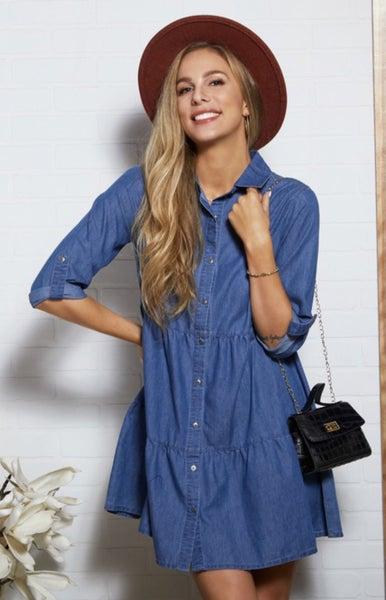 Dark Blue Denim Button Dress