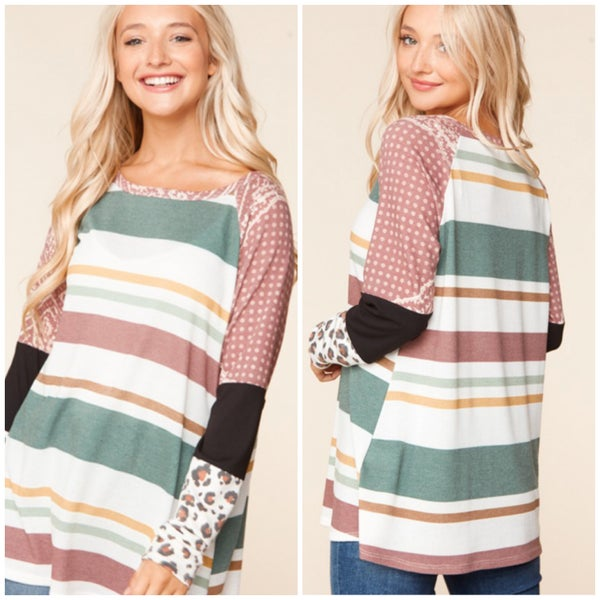 Multi Striped Print Sleeve Top