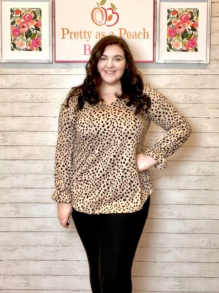 LAST CHANCE Taupe Animal Print Belle Sleeve Top FINALSALE