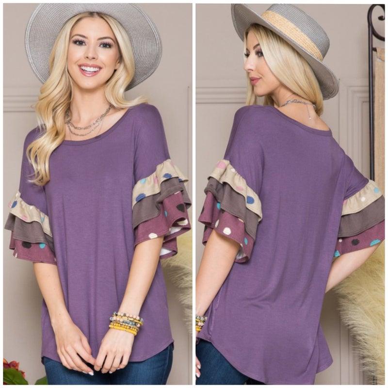 Purple Polka Dot Ruffle Sleeve Top