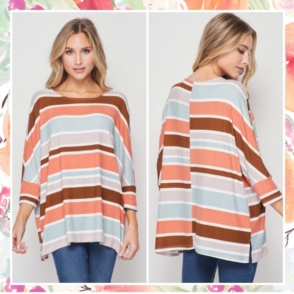 Wine Multi Striped Tunic