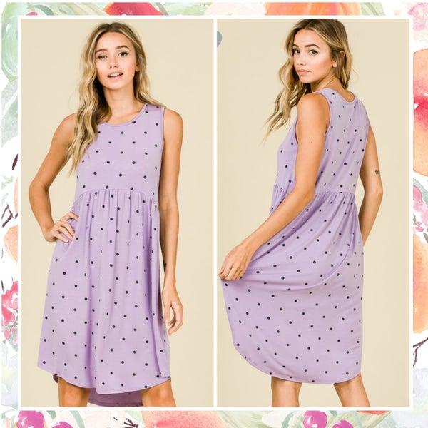 LASTCHANCE Lavender Polka Dot Dress ASHE FINALSALE