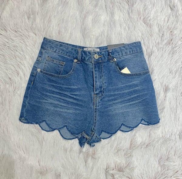 FINAL SALE Denim Scalloped Shorts
