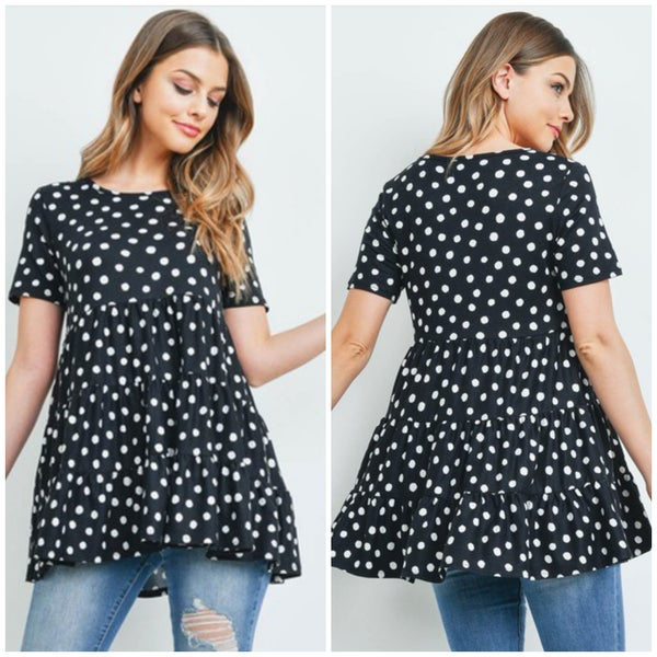 Black Polka Dot Tiered Top