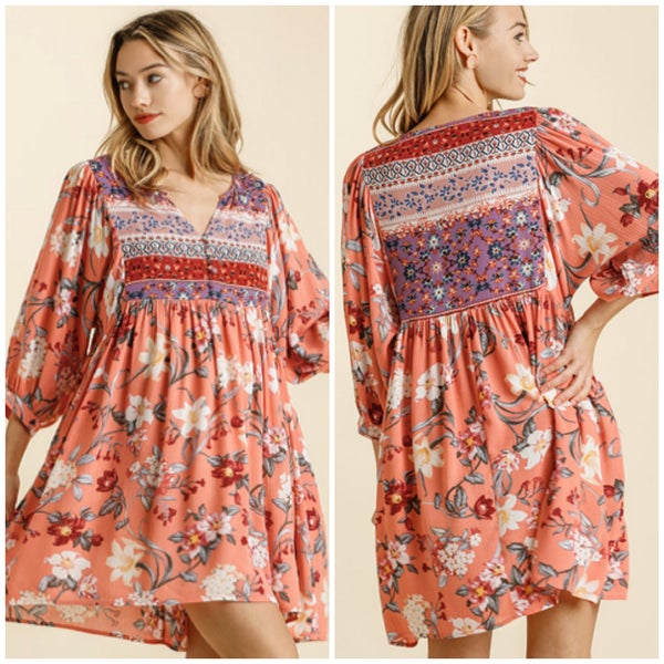 Umgee Melon Floral Print Dress