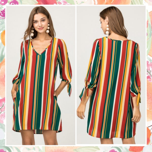 FINAL SALE Rust Multi Striped Dress *Final Sale*