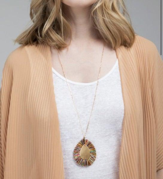 Multi Tassel Thread Tear Drop Necklace