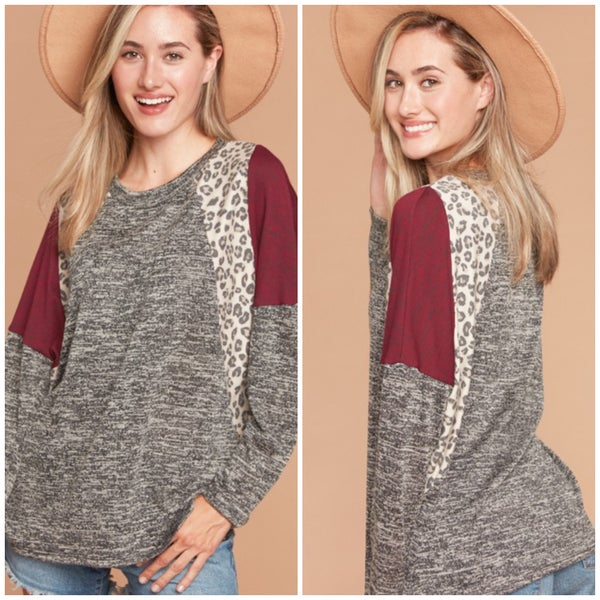 Charcoal & Wine Animal Print Accent Top