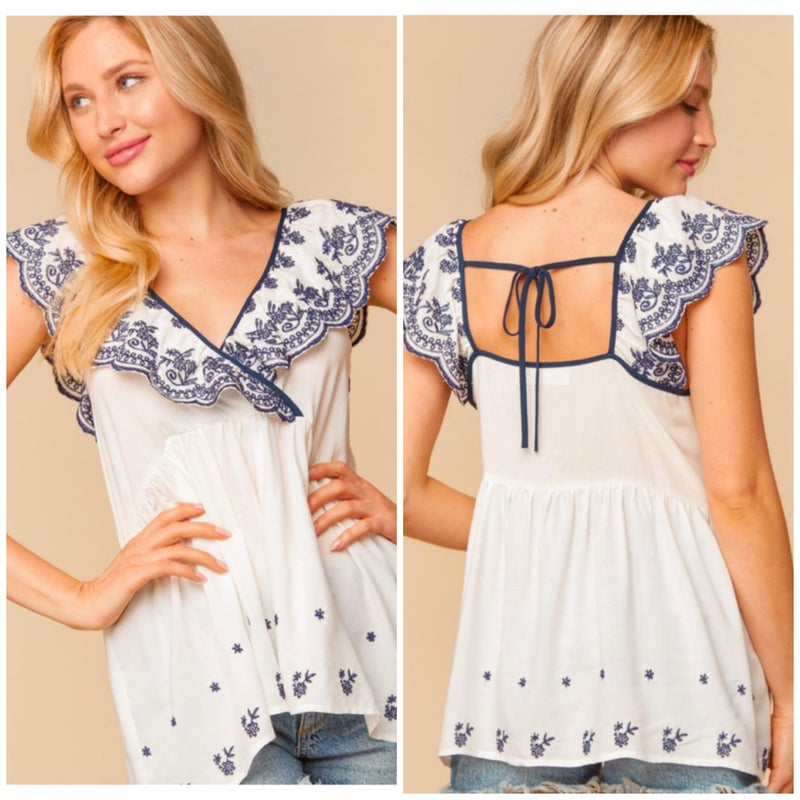 FINAL SALE Off White Embroidered Ruffle Top
