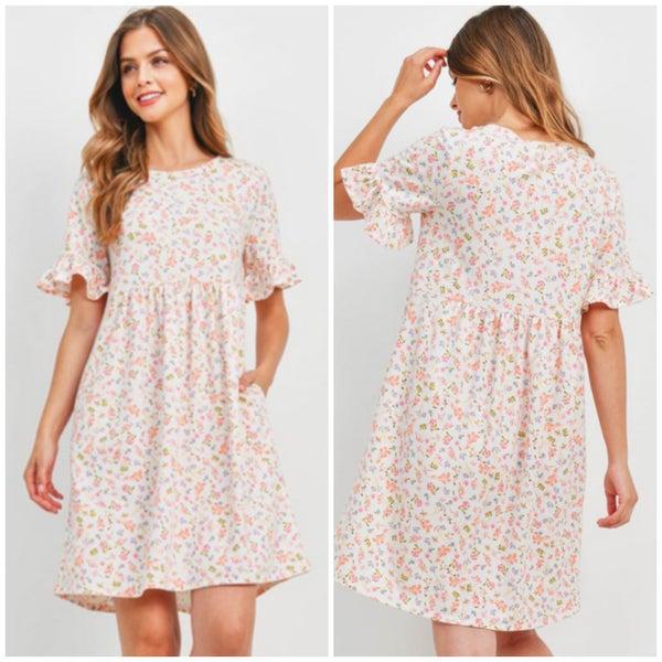 Ivory Floral Pocket Dress