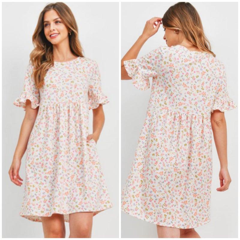 LAST CHANCE FINALSALE Ivory Floral Pocket Dress