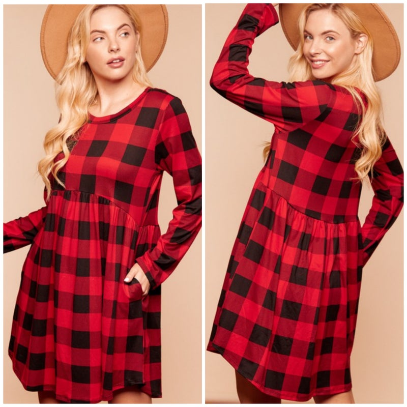 FINAL SALE Black & Red Buffalo Plaid Babydoll Dress