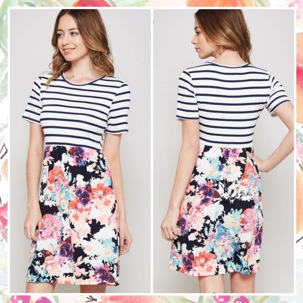 Navy Striped Floral Dress