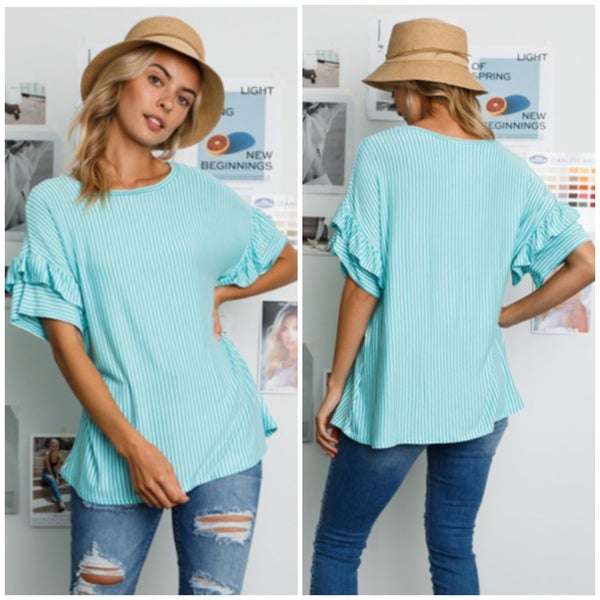 Mint Striped Ruffle Sleeve Top