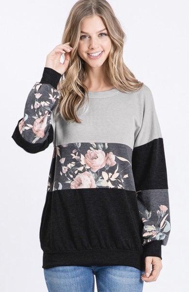 LAST CHANCE FINALSALE Gray Floral Color Block Top