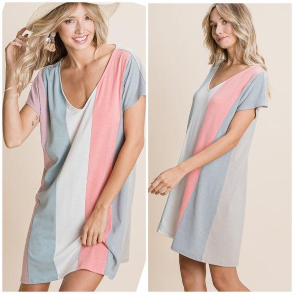 Coral & Grey Striped Dress