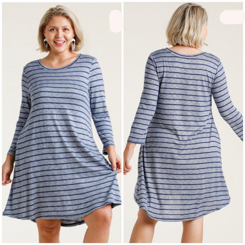 Umgee Navy Striped Pocket Dress