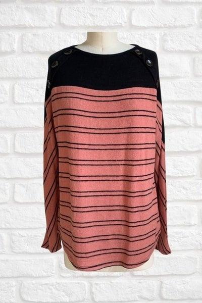 Black & Rust Striped Button Sweater