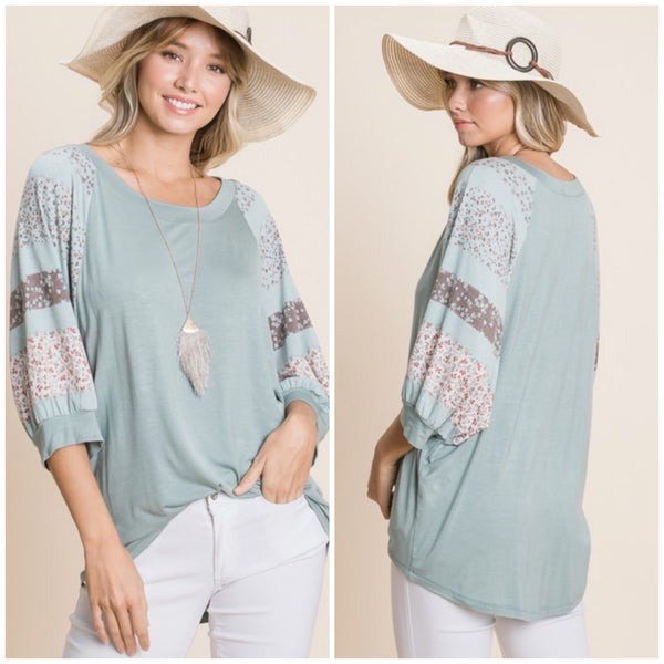 Sage Floral Sleeve Top