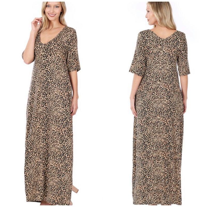 Camel Animal Print Maxi Dress
