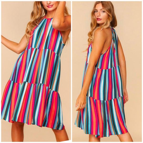 Multi Striped Halter Tiered Dress