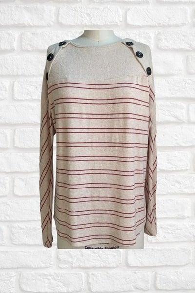 Cream Striped Button Sweater