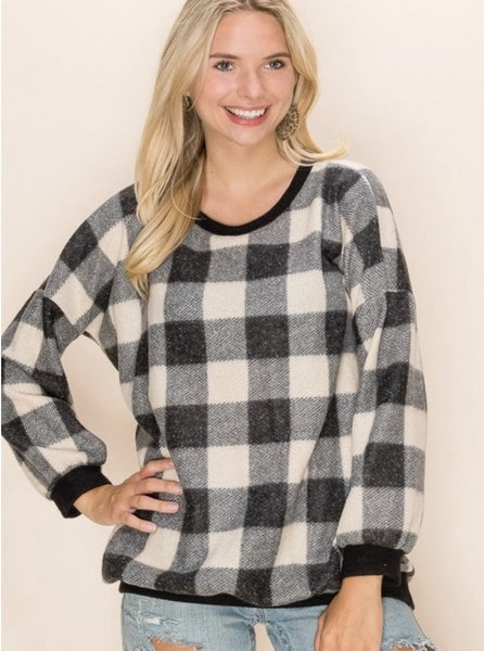 FINAL SALE Black & Ivory Buffalo Plaid Sweater