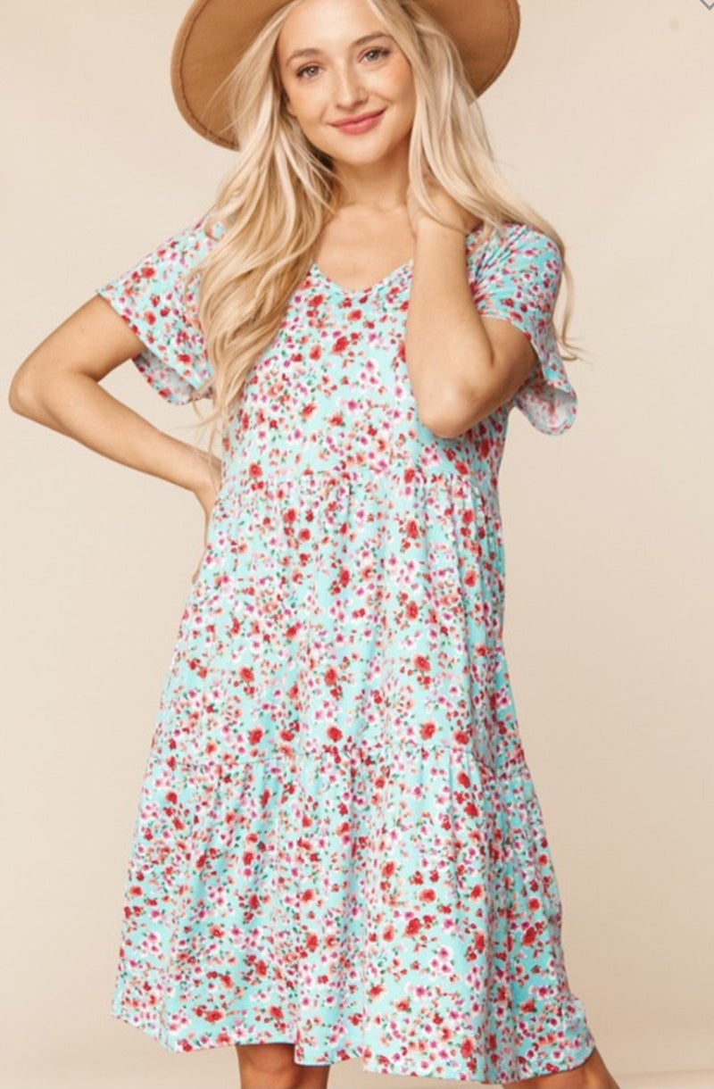 Aqua Floral Tiered Dress