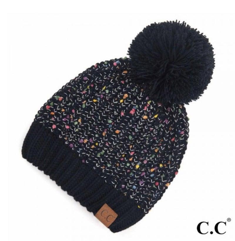 CC Black Confetti Pom Beanie