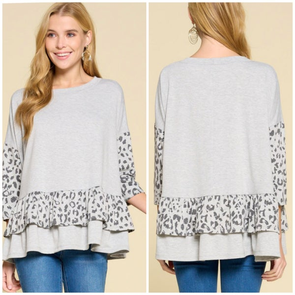 Gray Animal Print Ruffle Top