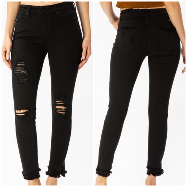 KanCan Black Distressed Ankle Skinnies