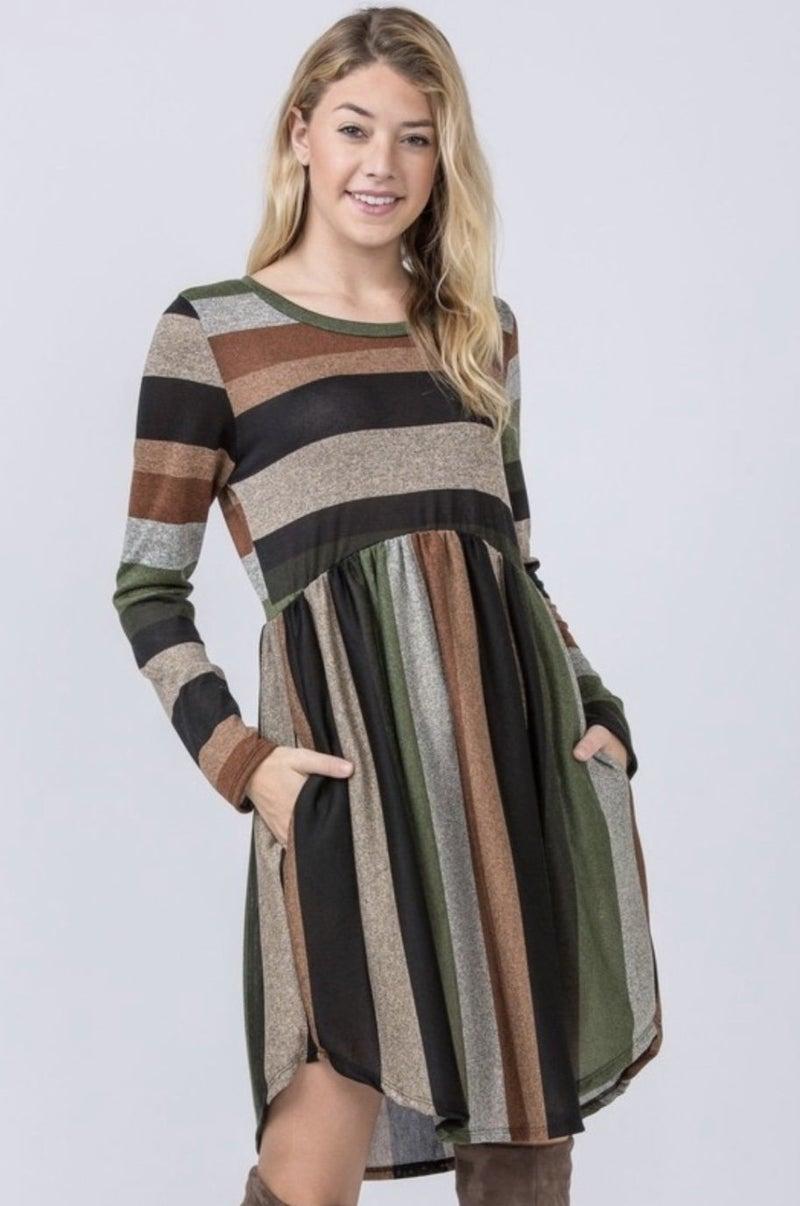 Olive Multi Striped Pocket Dress