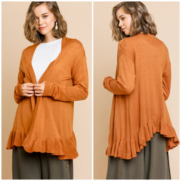 Umgee Rust Ruffle Sweater Cardigan
