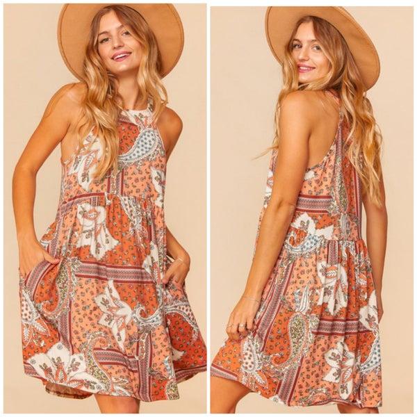 Peach Bohemian Print Dress