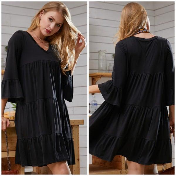 Black Tiered Ruffle Sleeve Dress