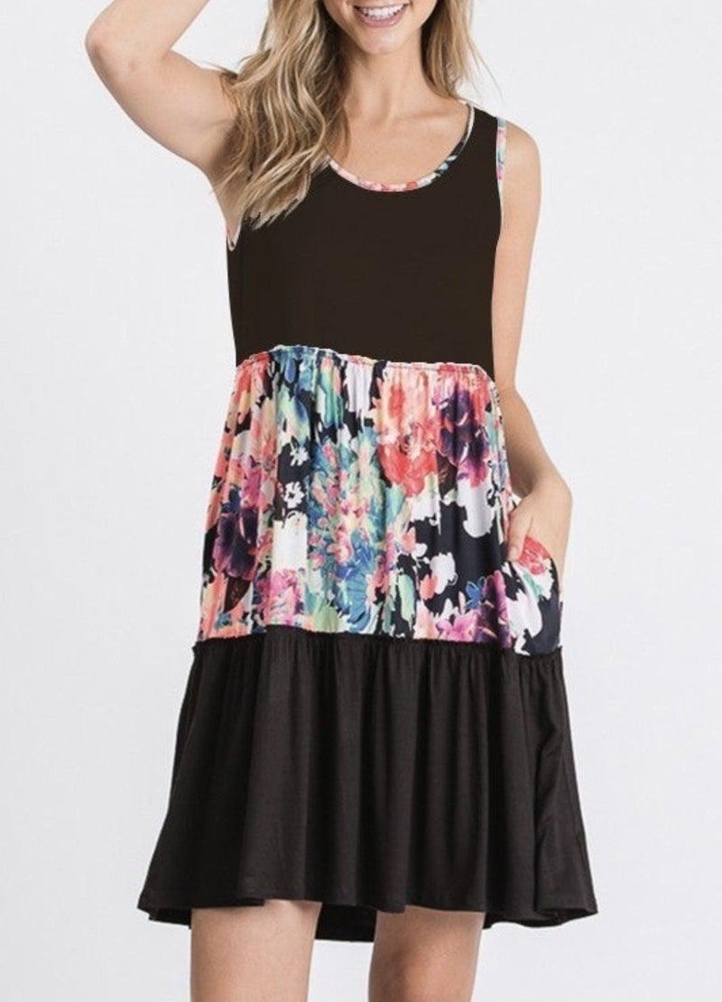 Black Floral Tiered Tank Dress