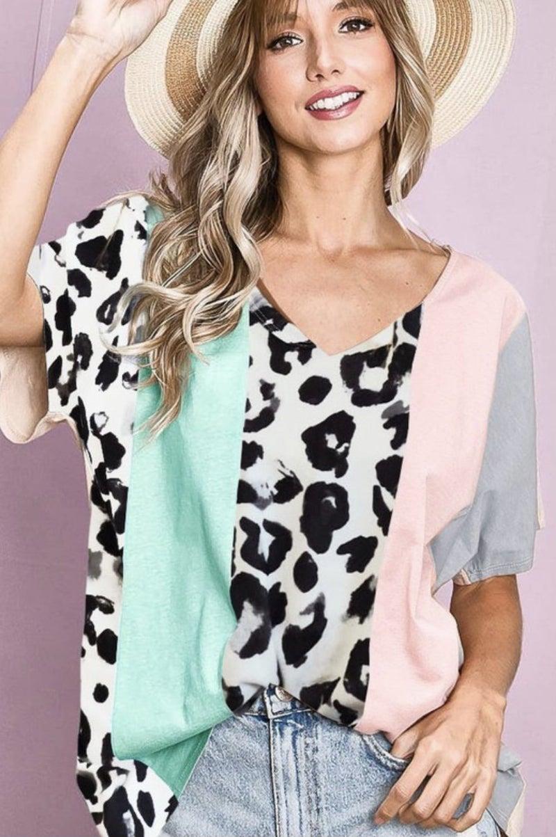 Animal Print Color Block Top