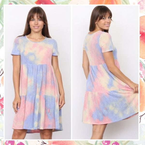 FINAL SALE Light Tie Dye Dress