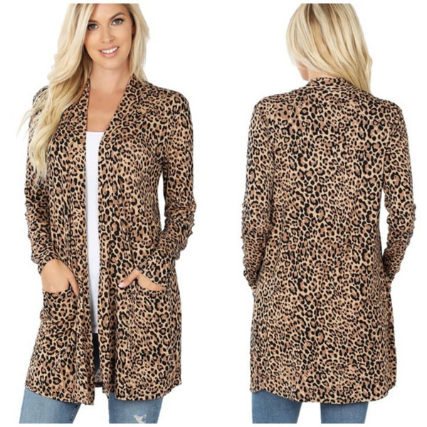 DEAL OF THE DAY Tan Animal Print Cardigan
