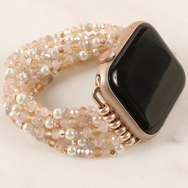Pearl & Blush Beaded Apple Watch Band (Fits 42/44)