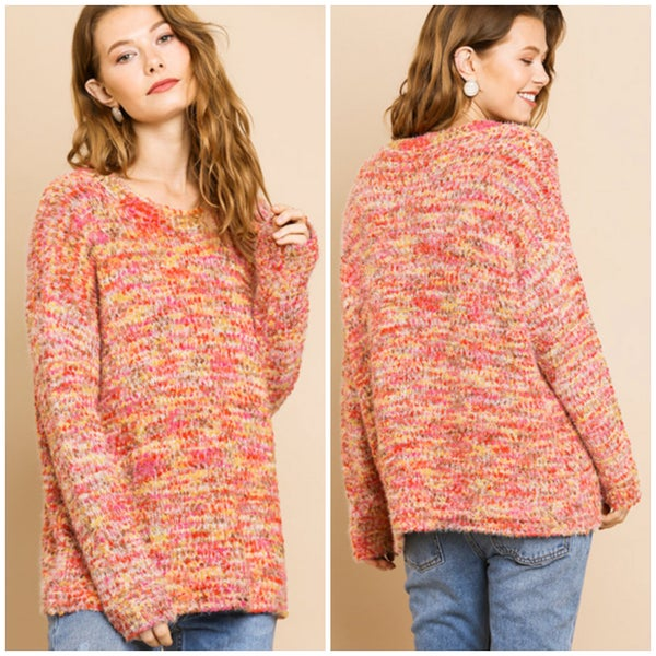 Umgee Orange Multicolor Popcorn Sweater