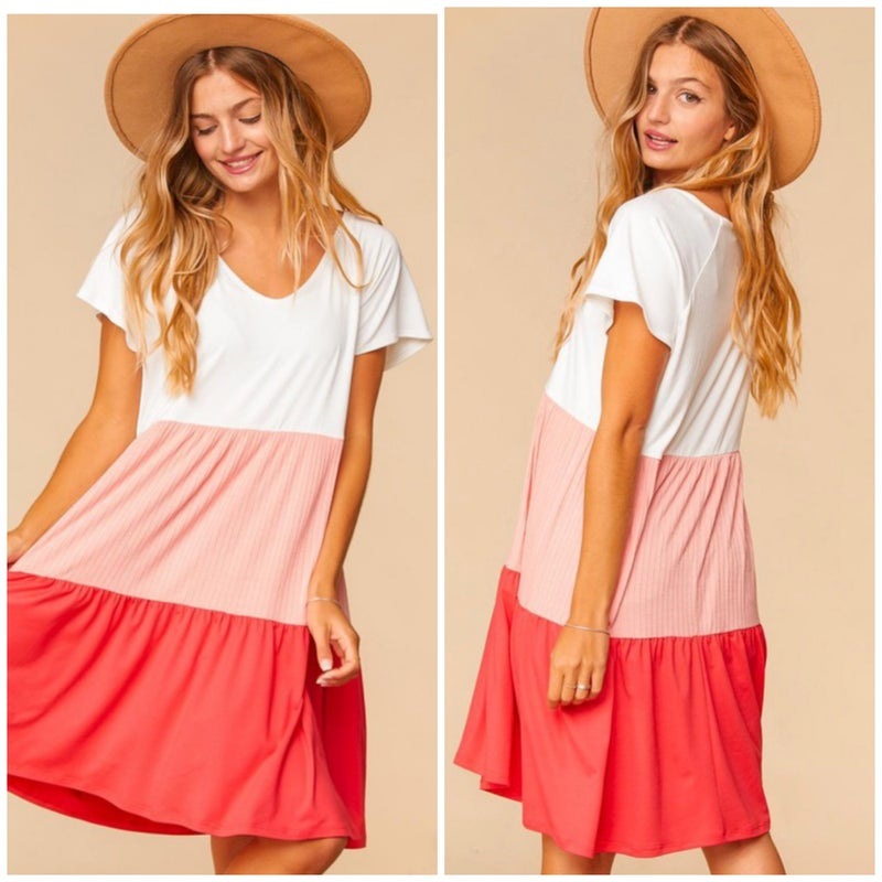Coral Tiered Color Block Dress