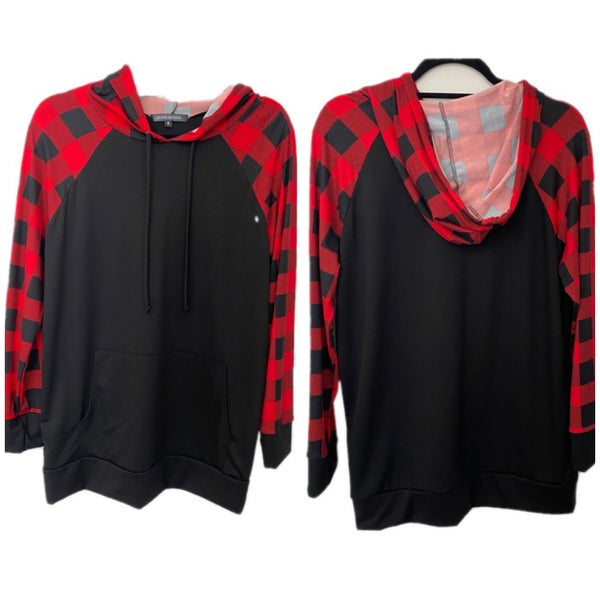 FINAL SALE Black Buffalo Plaid Sleeve Hoodie