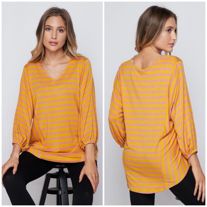 LAST CHANCE FINALSALE Mustard & Pink Striped Top
