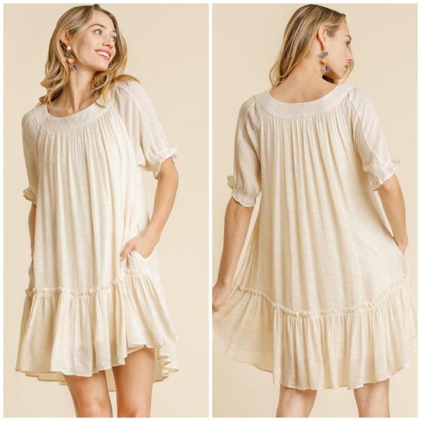Umgee Ivory Ruffle Pocket Dress