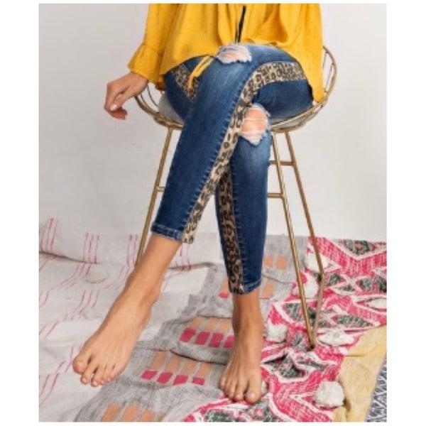 Animal Print Side Trim Jeans