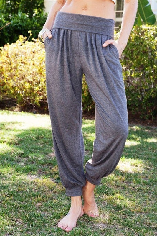 Harem Slouchy Jersey Knit Fold Over Waist Lounge Pants